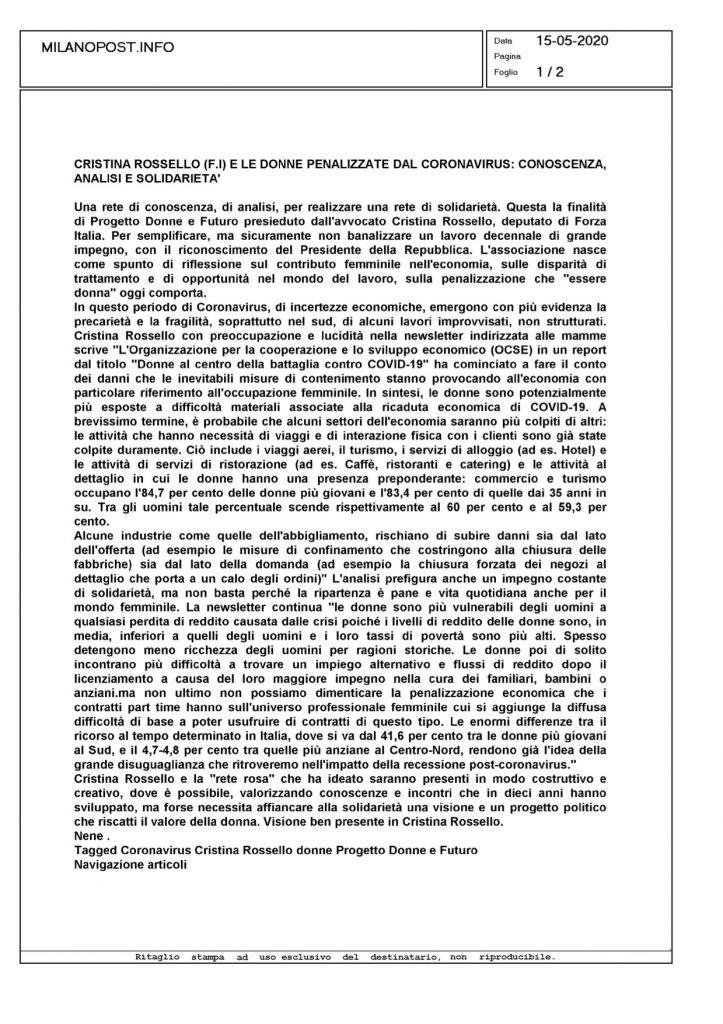 OSSERVATORIO PDEF: LE DONNE PENALIZZATE DAL CORONAVIRUS